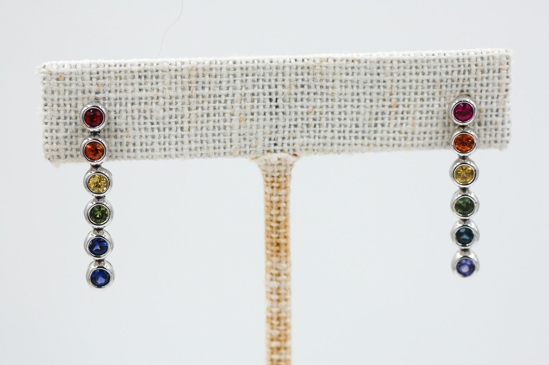 Rainbow sapphire earrings 1.17 cts- round, bezel set sapphires - 14kw