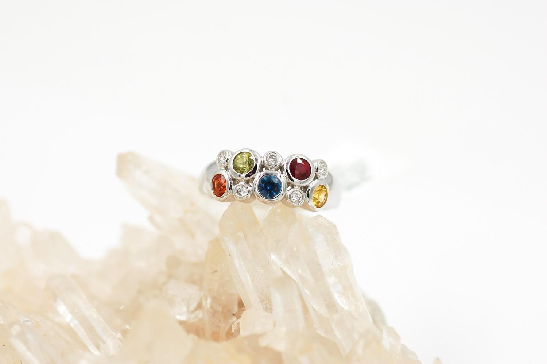 Rainbow sapphire & diamond ring 14kw .87cts saph/.10ct dia