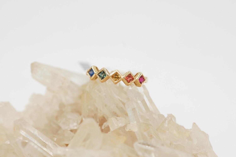 Rainbow sapphire ring - princess cut saph .53cts 14ky