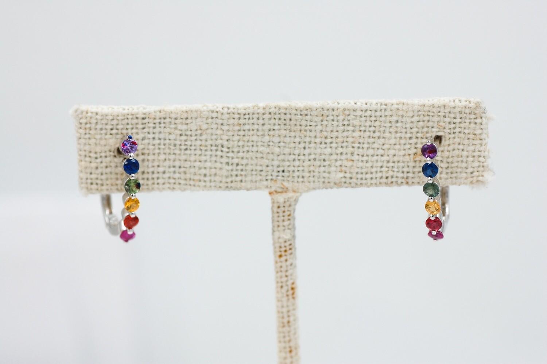 Rainbow sapphire earrings - 1.08cts round saph - .925