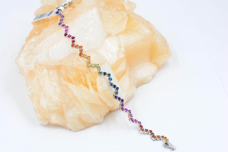 Double rainbow sapphire bracelet - 4.86cts, prong set- .925