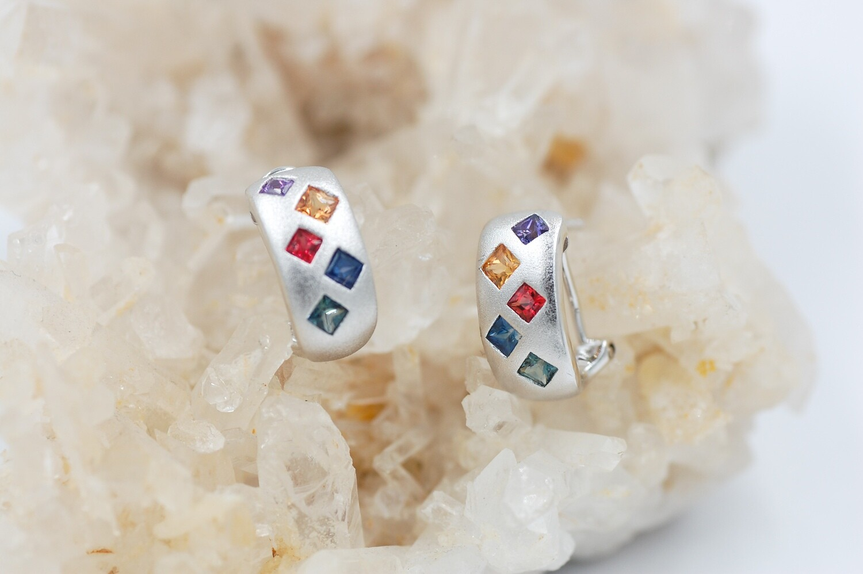 Rainbow sapphire earrings - 1.39cts princess cut saph - .925
