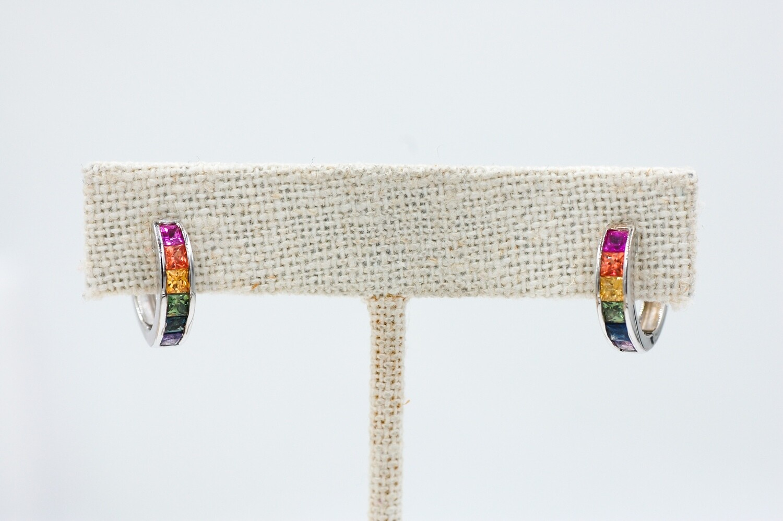 Rainbow sapphire huggie earrings 1.45ct saph - .925