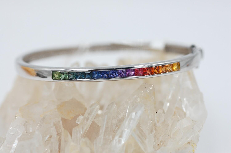 Rainbow sapphire bangle bracelet-2.20cts channel set princess cut saph -.925