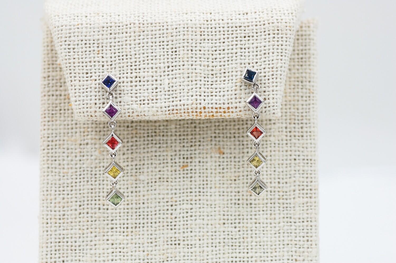 Rainbow sapphire drop earrings - .89 cts bezel set princess cut saph .925