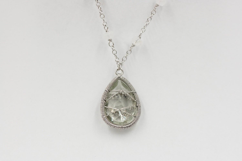Green quartz/moonstone necklace .925