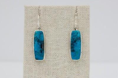 Large rectangular Shattuckite drop earrings .925