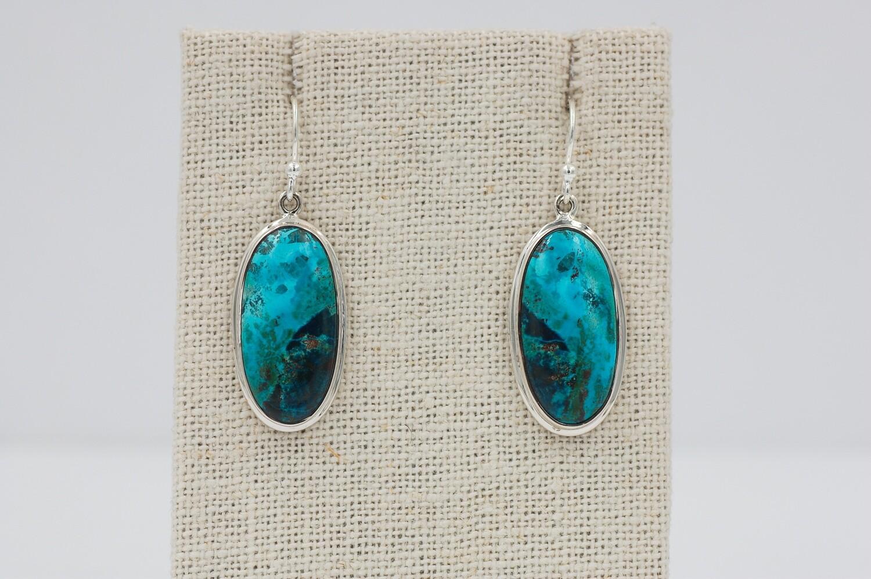 Large oval Shattuckite drop earrings .925