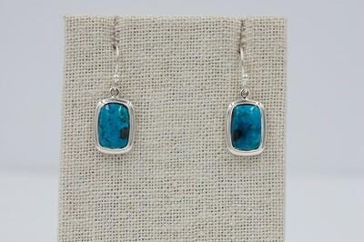 Fancy bezel oval Shattuckite drop earrings .925