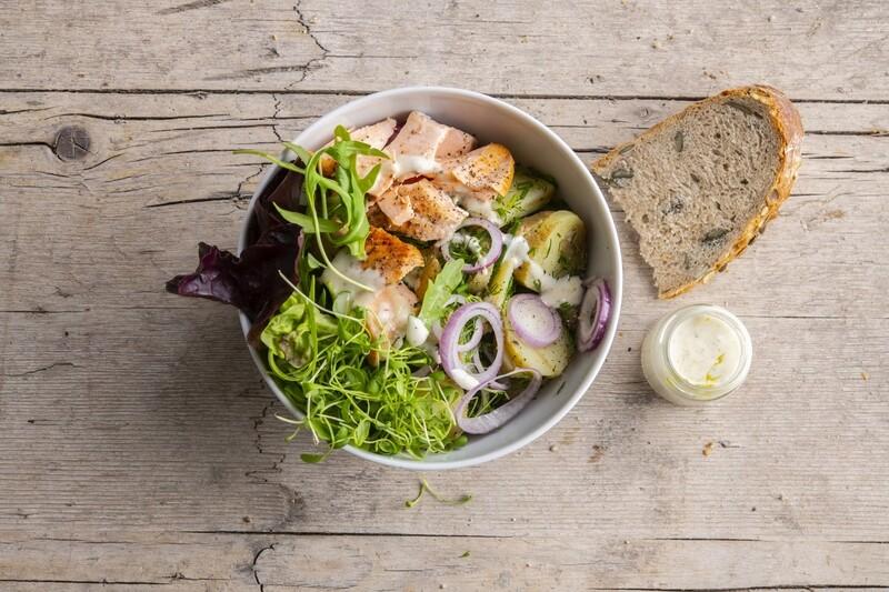 Krieltjessalade met Salsa Verde en Makreel