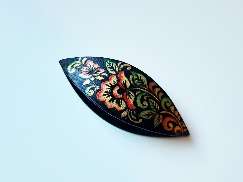 Tatting Shuttle Black Wood Painted