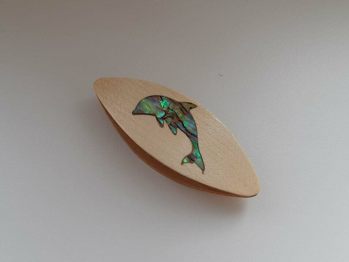 Tatting Shuttle Maple Mother-of-Pearl Dolphin Inlay