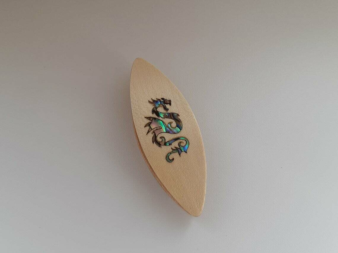 Tatting Shuttle Maple Mother-of-Pearl Dragon Inlay