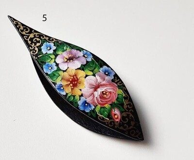 Tatting Shuttle With Pick Black Wood Painted