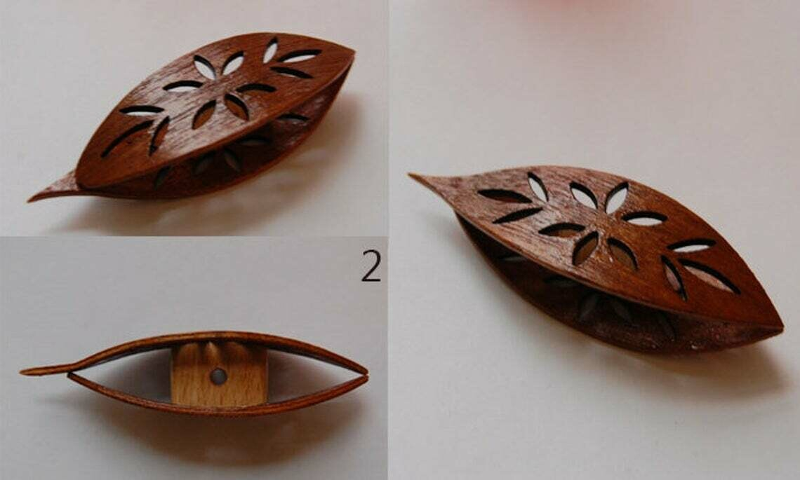 Tatting Shuttle With Pick Mahogany Wood Cutouts #2