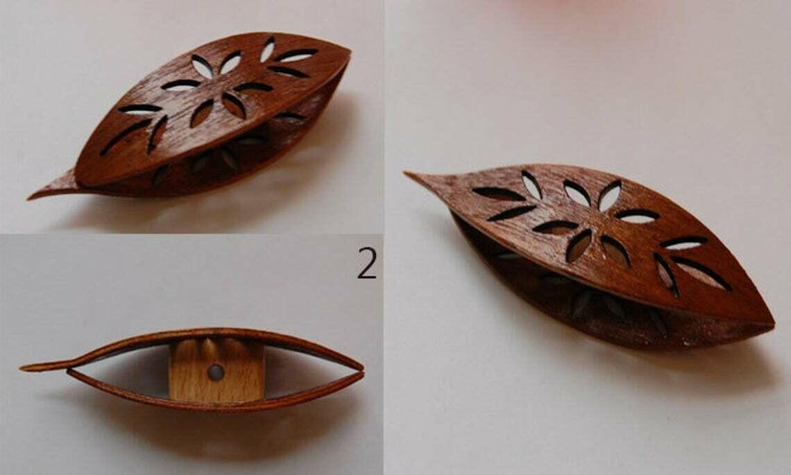 Tatting Shuttle With Pick Mahogany Wood Cutouts #2
