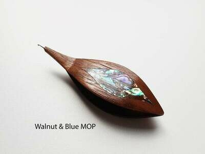 Tatting Shuttle With Hook Walnut Blue Mother-of-Pearl Inlay