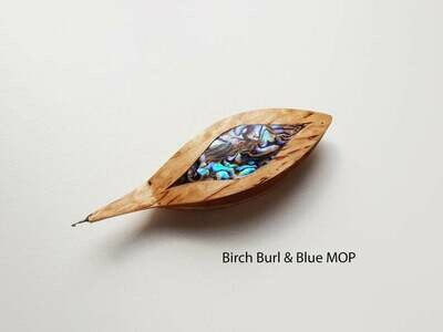 Tatting Shuttle With Hook Birch Burl Blue Mother-of-Pearl Inlay