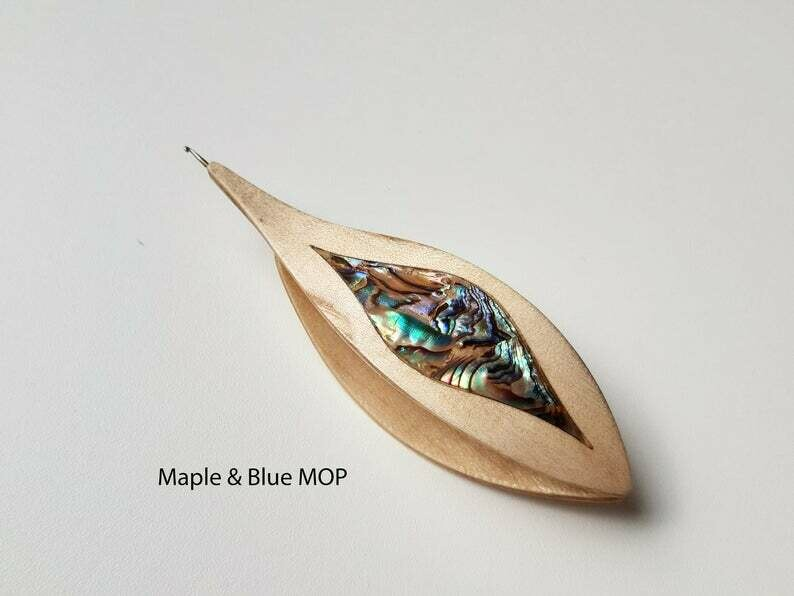 Tatting Shuttle With Hook Maple Blue Mother-of-Pearl Inlay