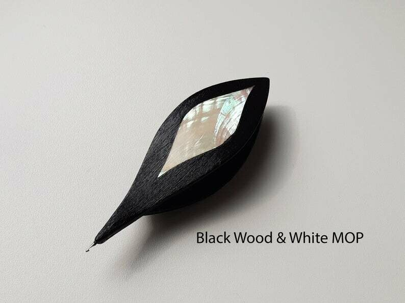 Tatting Shuttle With Hook Black Wood White Mother-of-Pearl Inlay