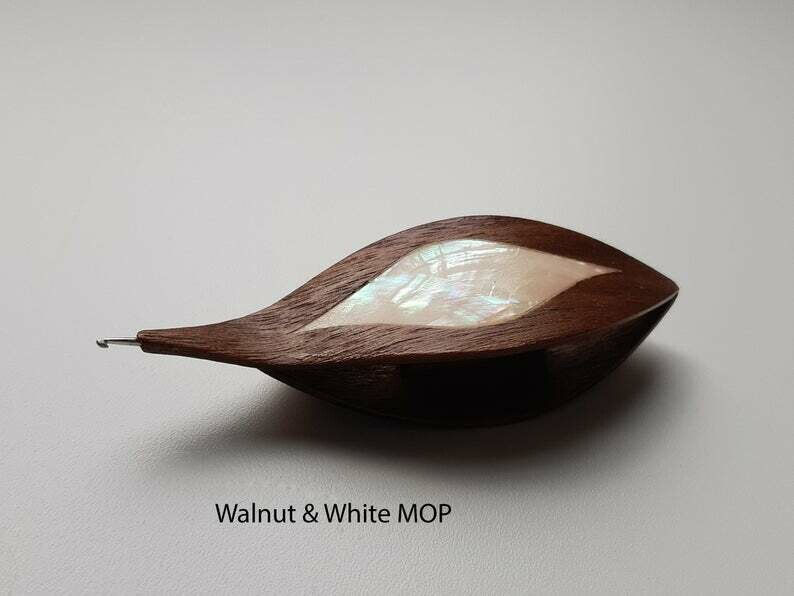Tatting Shuttle With Hook Walnut White Mother-of-Pearl Inlay