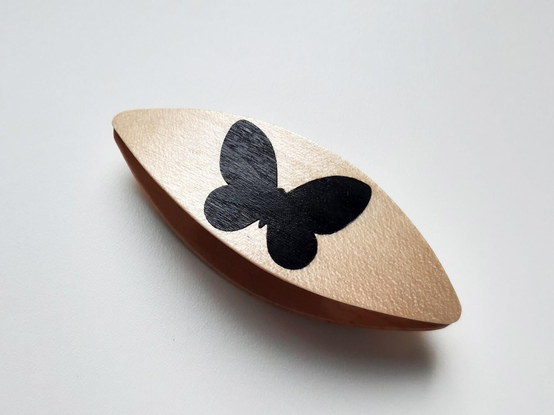 Tatting Shuttle Maple Black Butterfly Inlay