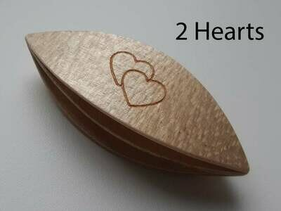 Double Decker Tatting Shuttle Maple 2 Hearts Engraved