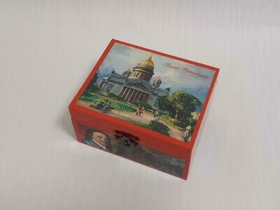 Wooden Rectangular Tatting Shuttles Storage Box Container With Lock Decorated in Russian Style  Saint-Petersburg