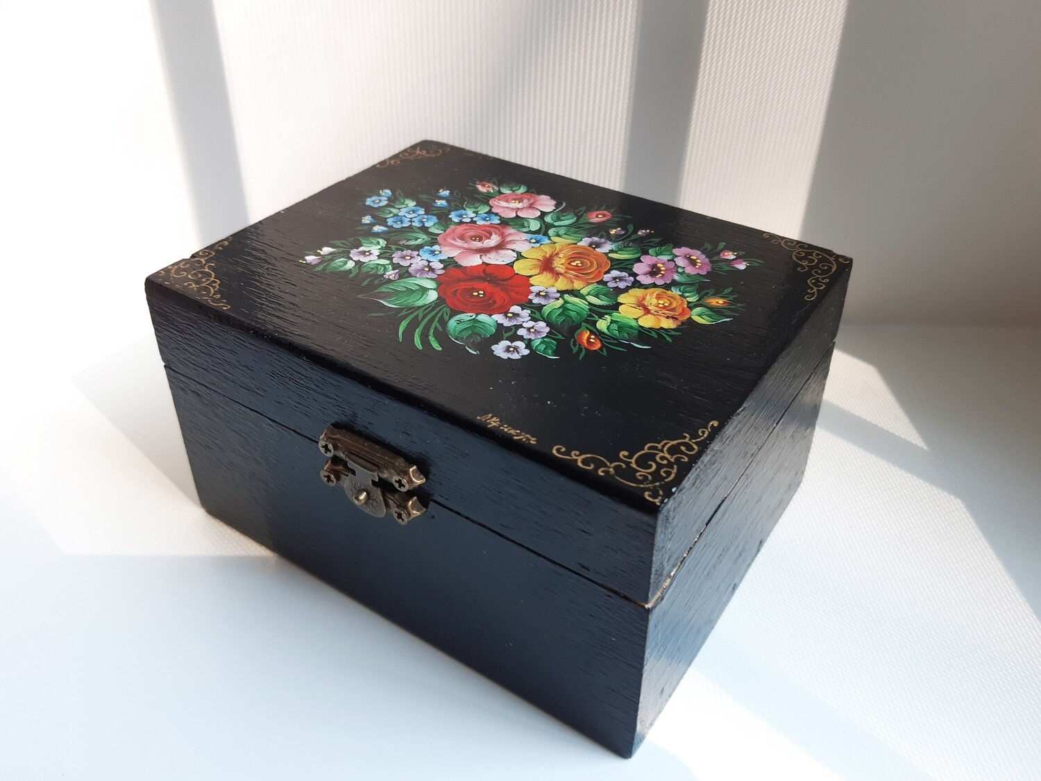 Wooden Rectangular Tatting Shuttles Storage Box Container With Lock Decorated in Russian Style  Zhostovo