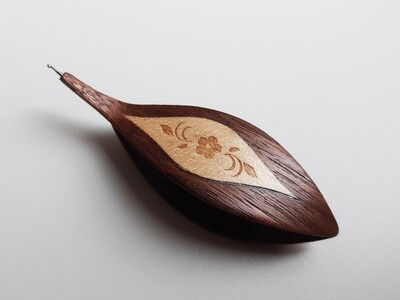 Tatting Shuttle With Hook Walnut Maple Engraved Inlay