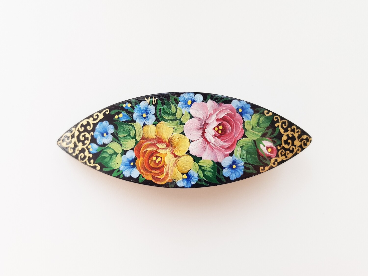 Large Wooden Hand Painted BARRETTE BLACK