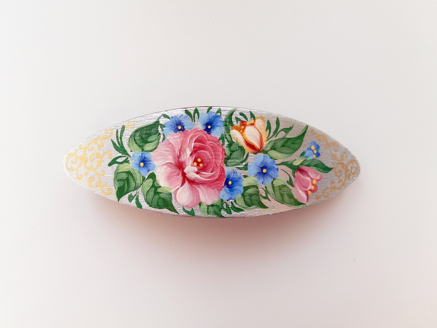 Large Wooden Hand Painted BARRETTE SILVER