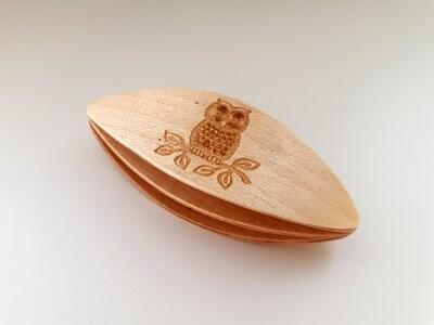 Double Decker Tatting Shuttle Maple Owl Engraved