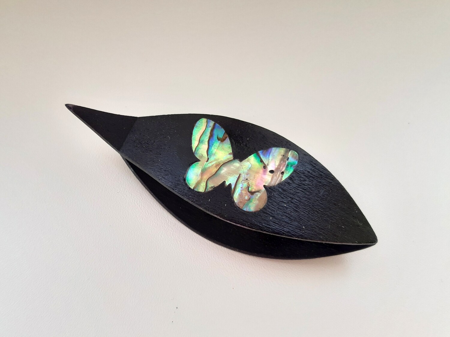 Tatting Shuttle With Pick Black Wood Mother-of-Pearl Butterfly Inlay
