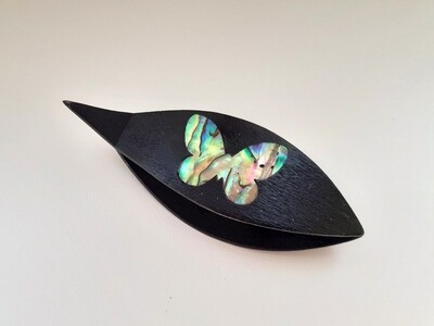 Tatting Shuttle With Pick​ Black Wood Mother-of-Pearl Butterfly Inlay​