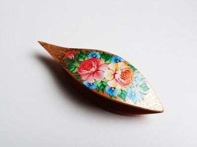 Tatting Shuttle With Pick Maple Painted #17