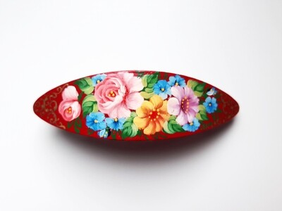 Large Wooden Hand Painted BARRETTE RED