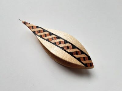 Tatting Shuttle With Hook Maple Marquetry