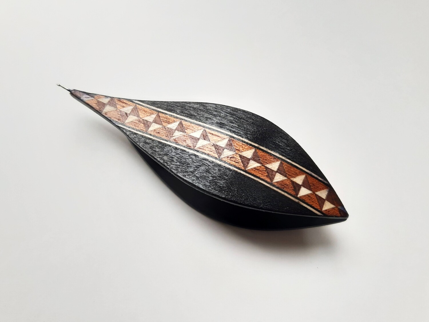 Tatting Shuttle With Hook Black Wood Marquetry