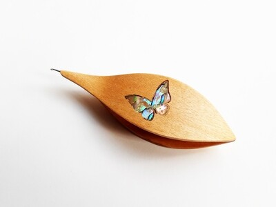 Tatting Shuttle With Hook Maple Mother-of-Pearl Butterfly Inlay