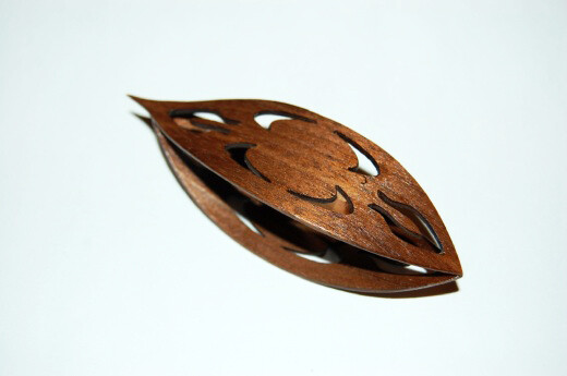 Large Wooden Tatting Shuttle With Sharp Pick Walnut With Cutouts #1