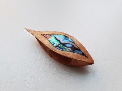 Tatting Shuttle With Pick​ Birch Burl Blue Mother-of-Pearl Inlay​