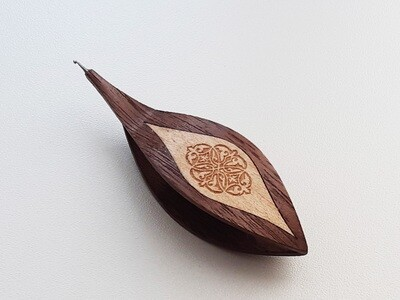 Tatting Shuttle With Hook Walnut Maple Inlay​ Engraving #5