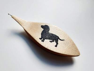 Tatting Shuttle With Hook Maple Black Wood Dog Dachshund Inlay