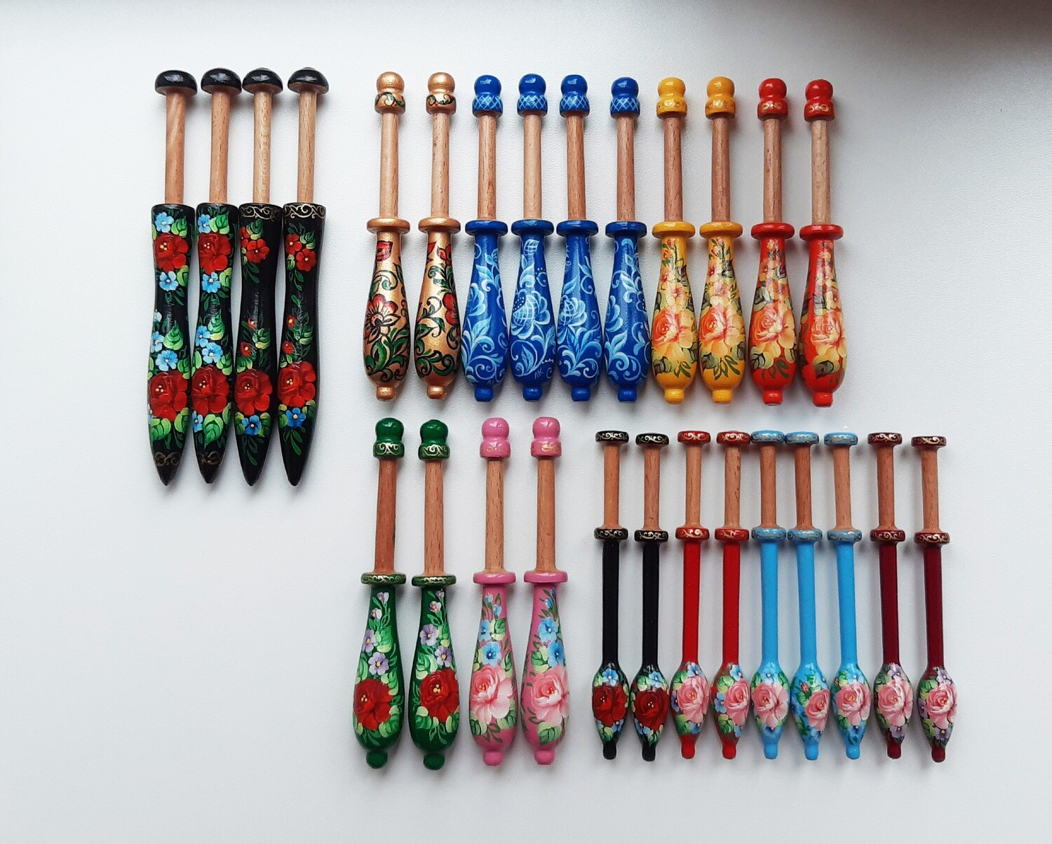 RESERVED For Maria CUSTOM ORDER of 27 Wooden Lacemaking Bobbins Made of Beech Hand Painted