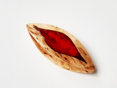 Tatting Shuttle Birch Burl Red Mother-of-Pearl Inlay