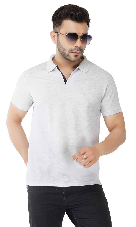 Rundown Collared Light Gray T-Shirt