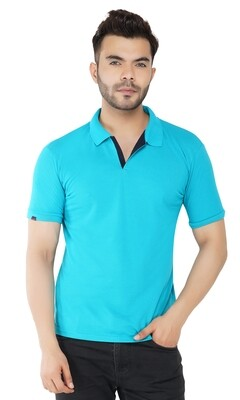 Rundown Collared Aqua T-Shirt