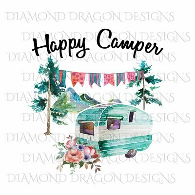 Camping - Happy Camper, Camping, Floral Watercolor Camper, Waterslide