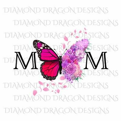 Mom's - Butterfly Succulent Floral, Mother's Day Design, Watercolor Mom Design, Pink Flower Butterfy, Waterslide